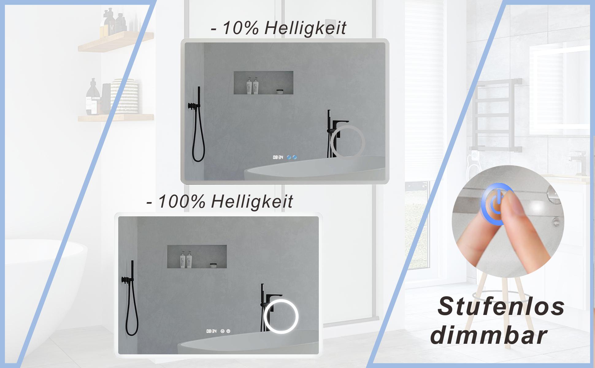 Badezimmerspiegel mit LED Beleuchtung und Uhr 100x70cm BORAS Typ D