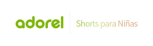 El logo de Adorel en verde y leggings shorts para niñas en degradado.