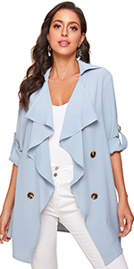 Waterfall Roll Up Sleeve Buttoned Duster Coat