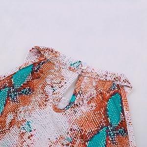 Azokoe Women Casual Printed Halter Tank Tops Loose Sleeveless Waffle Knit Shirts