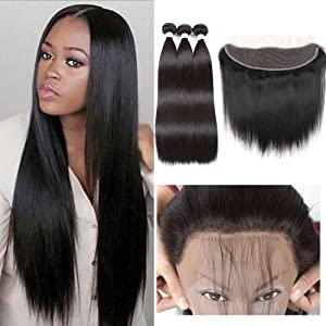 Bundles with Frontal Closure Straight Brazilian Hair Extensions Weave