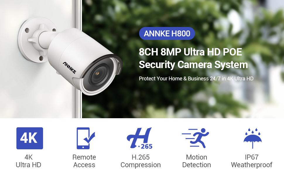 4K 8MP poe security camera system