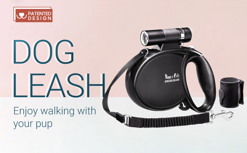 Pause Magic Box and Poop Bags and Convenient Hook One-handed Release Lock Happy /& Polly Dog Lead Retractable Dog Lead 5m with Super Bright Detachable Torch Protective Bungee Lead Taichi