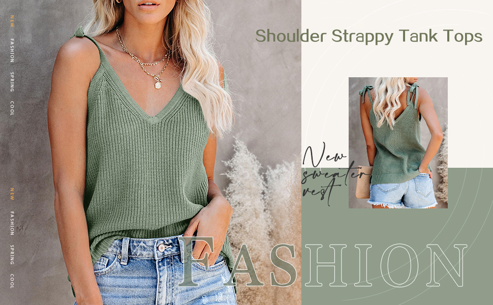 Women's Sleeveless Sweater Tank Tops,V Neck Strappy Knit Shirt,Solid Casual Basic Side Split Cami