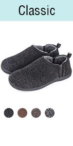 Snug Leaves Men's Fuzzy Wool Felt Memory Foam Slippers Anti-Slip Warm Faux Sherpa House Shoes