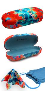 hard sunglasses case tie dye orange blue large eyeglass case microfiber cloth soft sunglasses pouch
