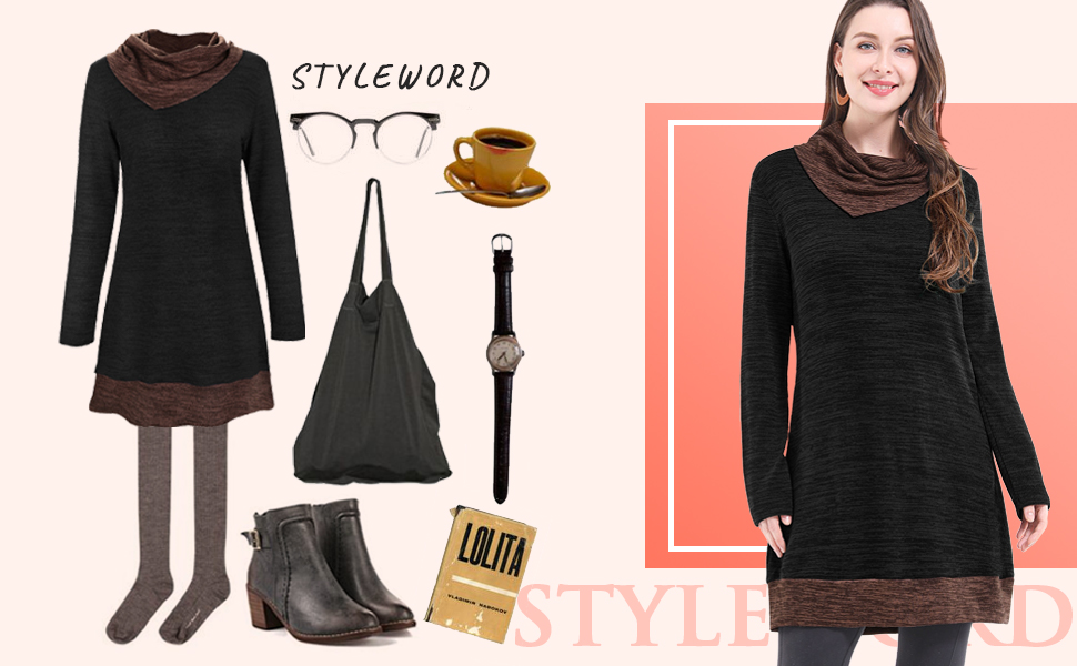 STYLEWORD Women's Long Sleeve Drape Scarf Neck Patchwork Casual Tunic Sweater Shirts