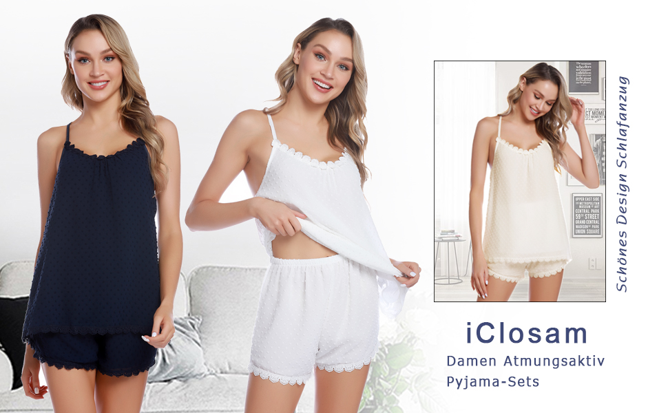 Nachtwäsche Damen Schlafanzug Kurz Pyjama Shorty Spitzen Sleepwear Sets Zweiteilige