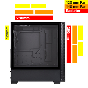 2 Pre-installed 120mm fans radiator 120mm fan 140mm 280mm air cooling cooler liquid ready