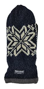 Bruceriver Mens Snowflake Knit Mittens with Warm Thinsulate Fleece Lining