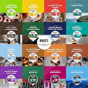 Coffee Pods Organic Coffee Flavored Coffee Variety Pack Kcups Keurig Dark Roast Espresso Caramel