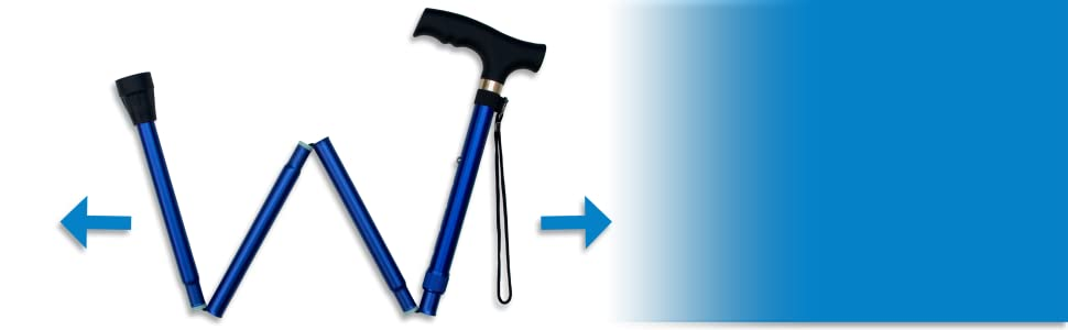 Ergonomic Handle and Non Slip Rubber Tip on Travel Cane