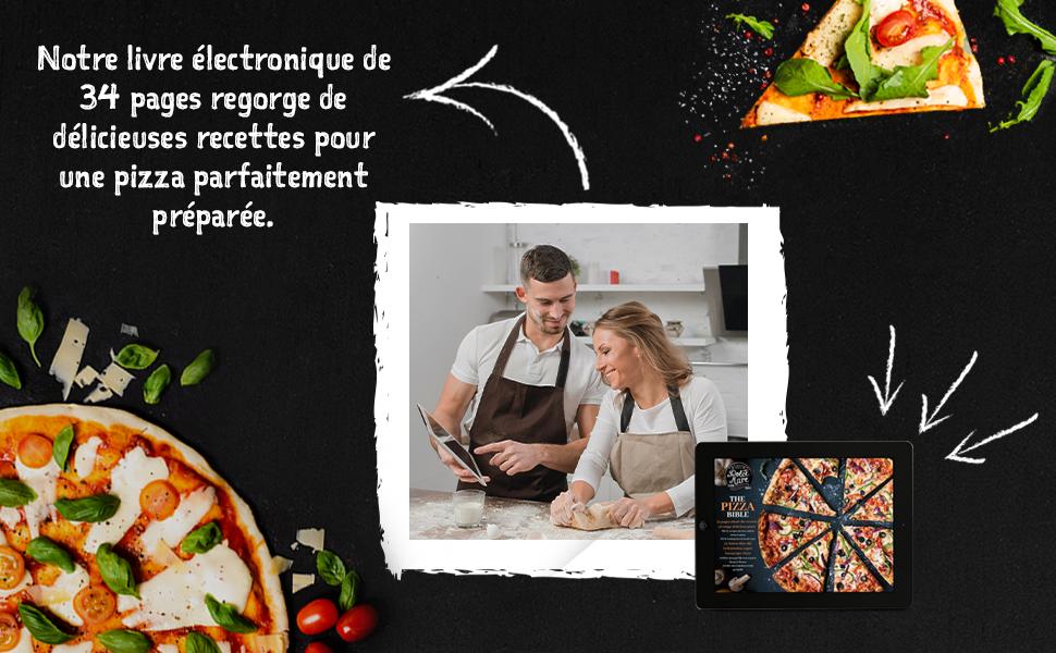Notre livre électronique de 34 pages reqorge de délicieuses recettes pour une pizza parfaitment