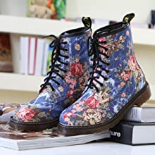 WUIWUIYU Womens Floral Printing Cool Casual Canvas Lace-Up Western Boots Ankle High Short Combat Booties