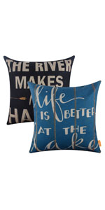 LINKWELL Pack of 2 Lake Pillow Cover