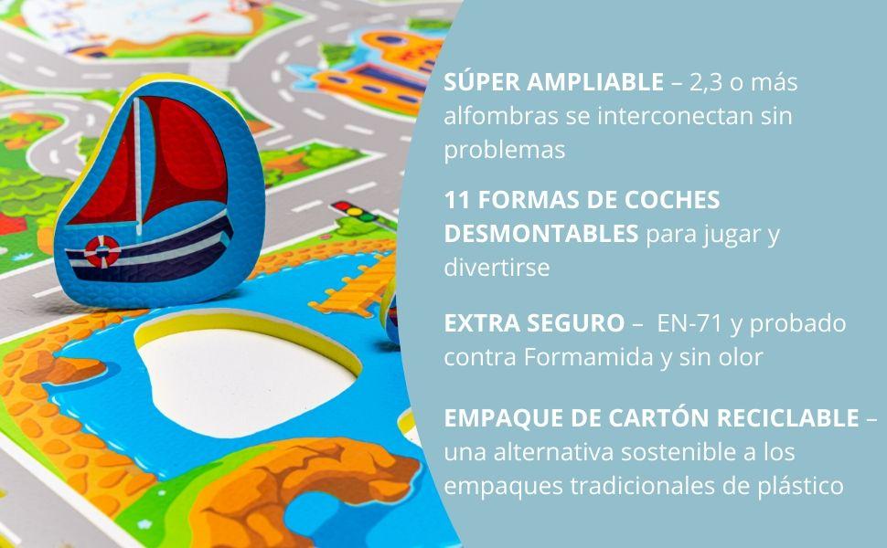 Hakuna Matte Alfombra Infantil Puzzle Diseño Coches 1,2 x 1,2m- 16 ...