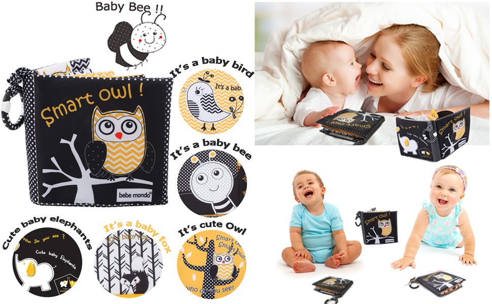 black white book baby owl toy cloth book soft book crinkle books for infant babies teether ring toy0