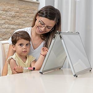 dry erase white board for kids, portable dry erase board, desktop easel whiteboard