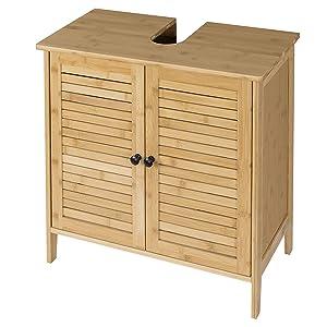 EUGAD Mueble de Baño Armario Bajo Lavabo Mueble para Debajo de Lavabo Mueble Lavabo de Baño Almacenamiento con 2 Puertas Bambú 60 x 30 x 60 cm 0017WY: Amazon.es: Hogar