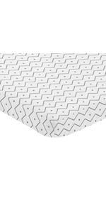 Grey and White Geometric Mini Portable Crib Sheet for Mod Dinosaur Collection