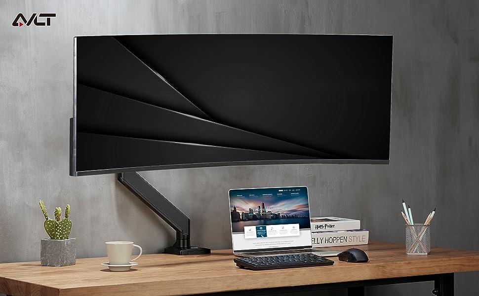 AVLT Single Monitor Desk Mount Holds 33 lbs Ultrawide Screen - Height Adjustable Full Motion