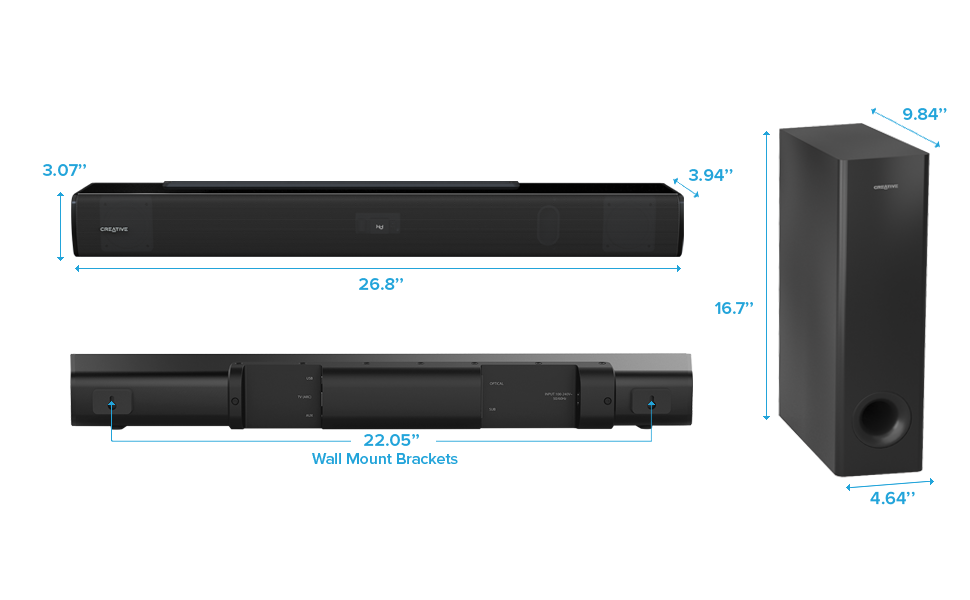 soundbar and subwoofer dimensions and wall mount brackets distance