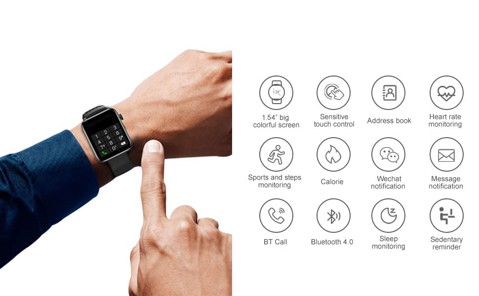 BLUETOOTH  Smart Watch IP67 Sports Waterproof-HAOQIN QS1 HaoWatch Full Touch Smart Watch 1.54″ Screen Fitness Tracker with Heart Rate Sleep Monitor for Men and Women Smart Watches Bluetooth 4.0 Android iOS Pink d91dadc9 bfc6 4e52 ad3e d22da15f607b