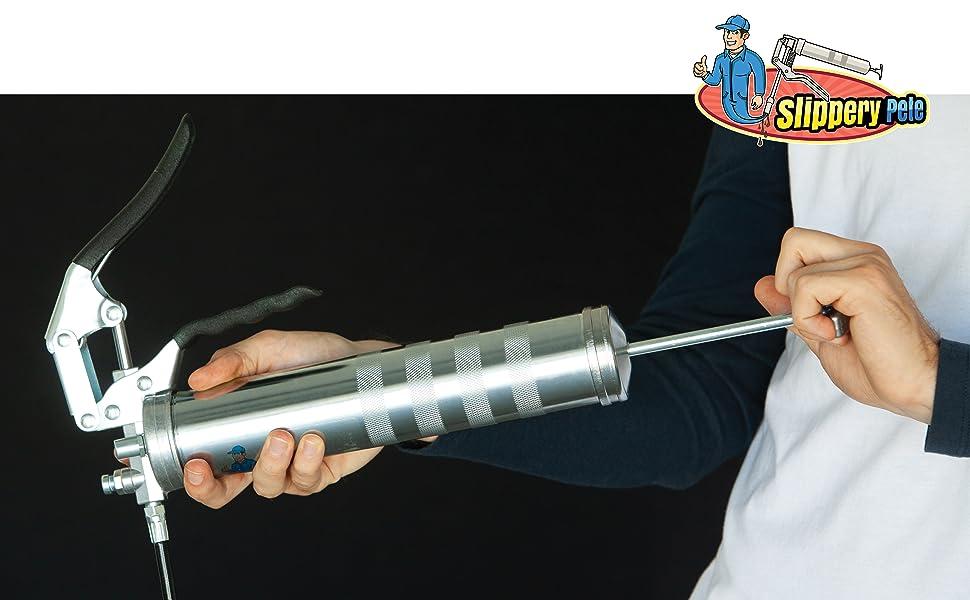 Tickas Pistola de engrase de pistola peque/ña 100CC 2800-5600psi Agarre Engrasadora de grasa M/áquina de reparaci/ón de neum/áticos Herramienta de reparaci/ón de llantas port/átil