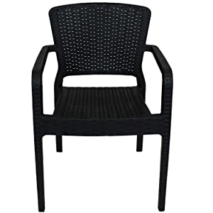 full view of black wicker plastic chair