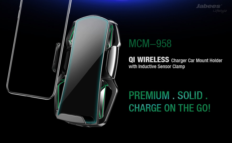 Samsung S6//S6 Edge//S6 Edge+//S7//S7 Edge//Note5//Note7//S8//S8+//S9 Jabees Qi Wireless Fast Charging and Auto-Clamping Sensor Universal,Compatible with iPhone 8//8P//X//XS//XS Max//XR//11 Car Mount Holder