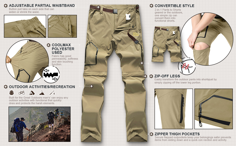 Toomett Womens Lightweight Hiking Stretch Pants Convertible Quick Dry Zip Off Outdoor Travel Safari Pants