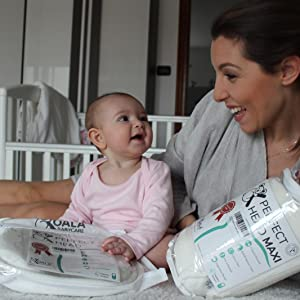Koala Babycare/® Almohada para Embarazadas para Dormir y Amamantar U Pillow con Soporte Lumbar KHUGS Plus re-Ductor de Cuna y paracho-ques Cervical Cojin Maternidad con Cordones de Seguridad