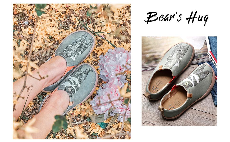 UIN bear canvas hug canvas slip on shoes