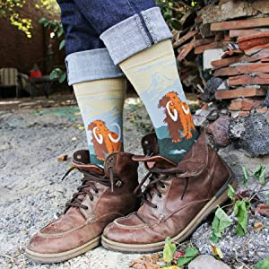 woolly mammoth ice age wooly science fossils dinosaurs caveman cave man mens socks funny fun science