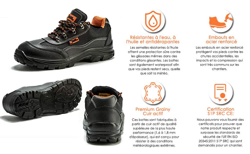 Black Hammer Chaussure de Sécurité S1P SRC Hommes Baskets Embout Acier Respirant Chaussures de Chaussures de Travail et randonnée 8821
