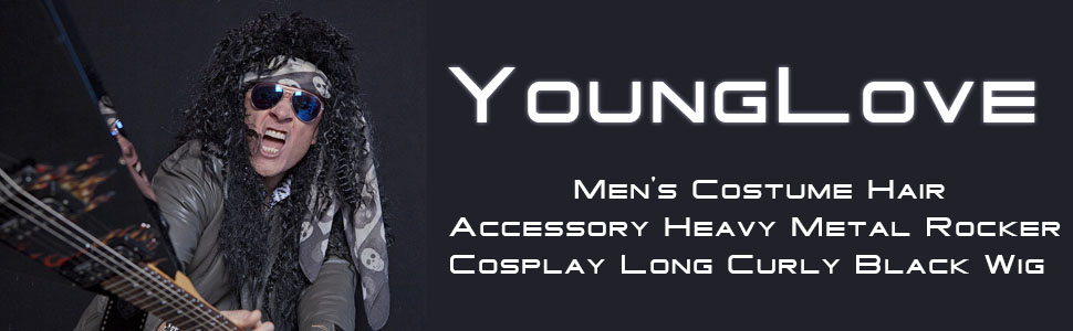 YoungLove Mens Costume Hair Accessory Heavy Metal Rocker Cosplay Long Curly Black Wig