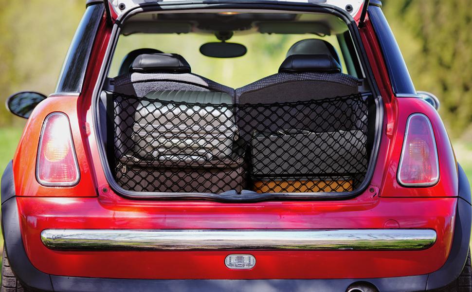 utilizada para cami/ón o maletero 110 x 50 cm ajustable Red de almacenamiento para maletero de coche Mianyang el/ástica bolsa de clasificaci/ón de malla trasera universal