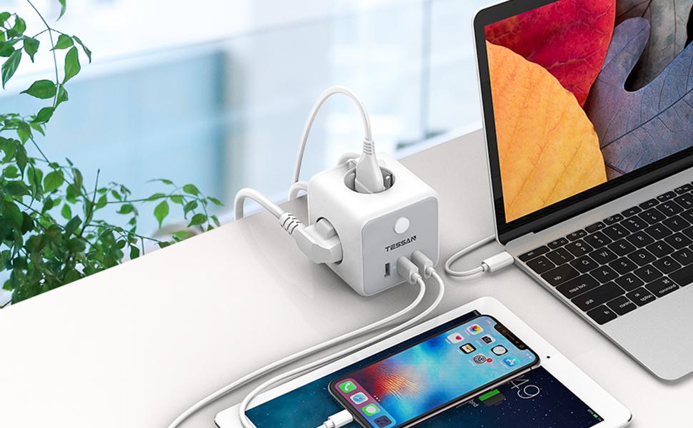 Kubus stopcontact met USB-stekkerdoos, meervoudig stopcontact, USB, meervoudige stekker, stekkerdobbelsteen
