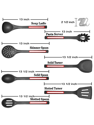 size of this silicone cooking set