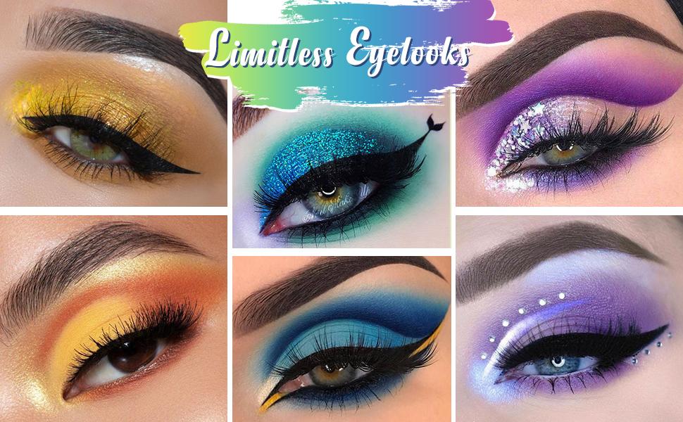 rainbow purple blue yellow eyeshadow