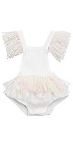 baby girl birthday white lace romper sleeveless halter