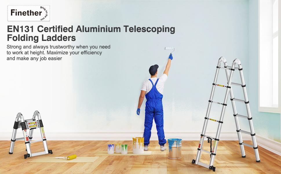 Finether-3.8M Escalera Telescópica Plegable (12.5FT, Multi-propósito Extensible, Buena Calidad, Mayor Seguridad, Aluminio): Amazon.es: Bricolaje y herramientas