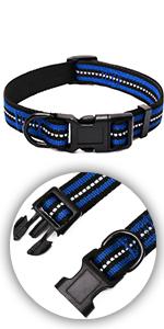 Night Reflective Double Bands Nylon Dog Collar