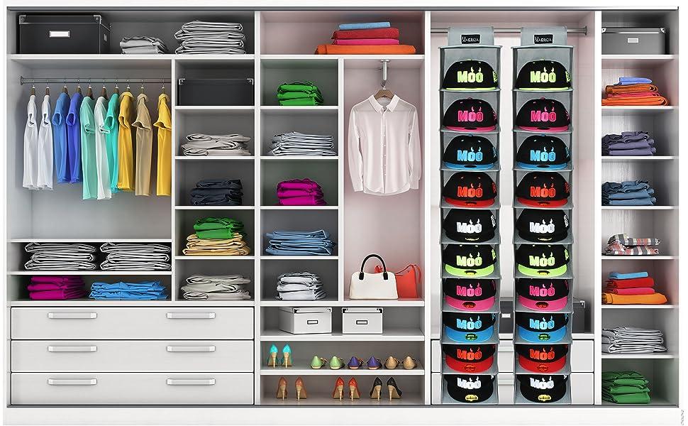 Amazon Com Vaesida Hat Rack Hanging Closet 10 Shelf Hanging