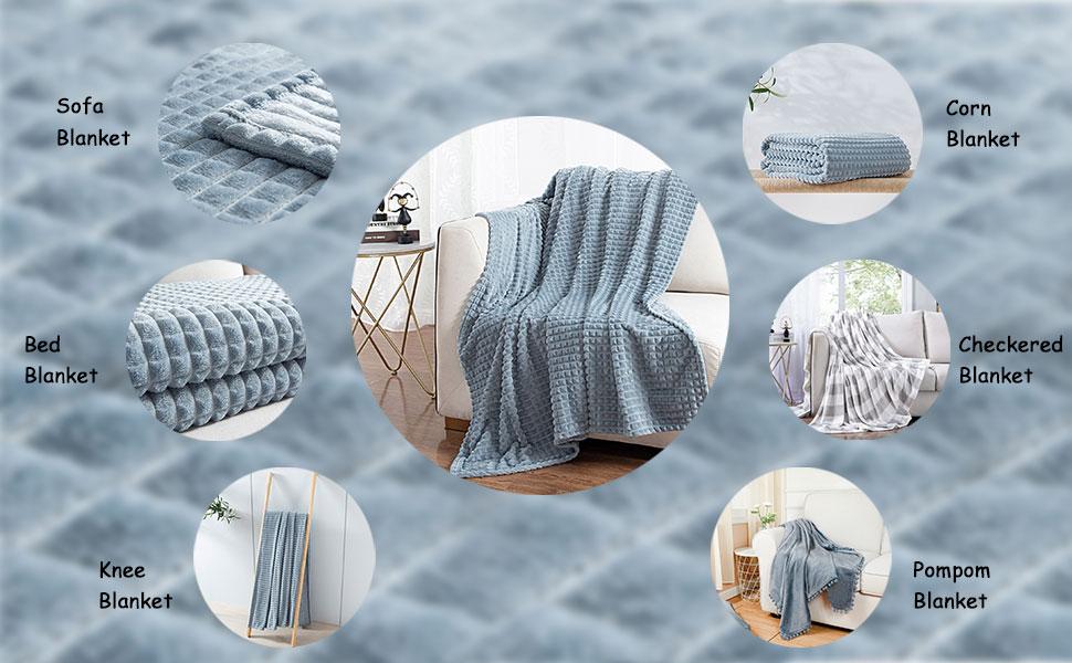 grey blue throw blanket