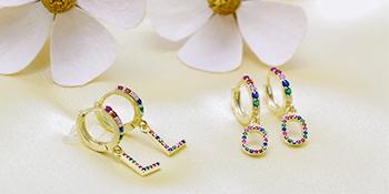 letter earring for women
