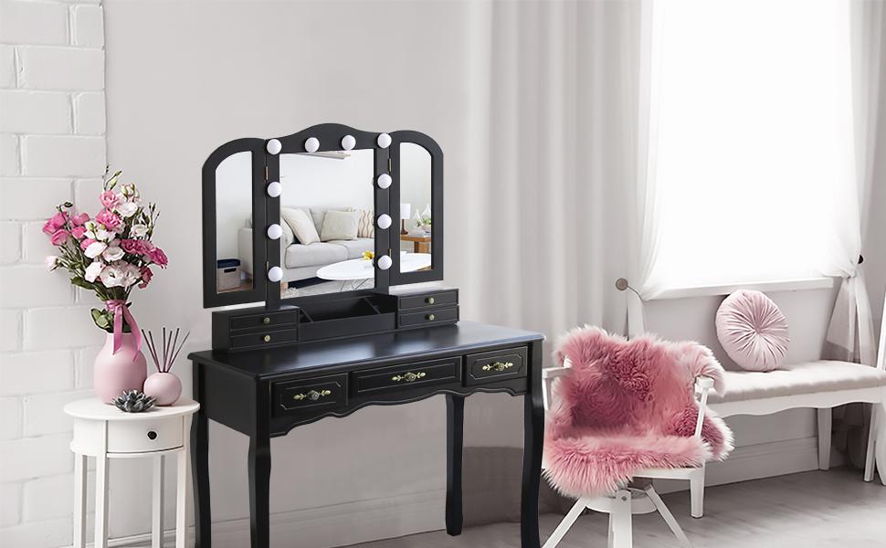 Tri-Folding Mirror Vanity Set