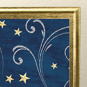 Closeup shot of the card front, highlighting the raised embossing and stamped gold foil.