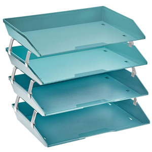 acrimet facility letter tray 4 tier side load solid green color