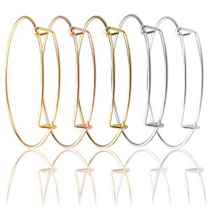 5 Colors Blank Bracelets: silver, gold, rose gold, white K, bronze